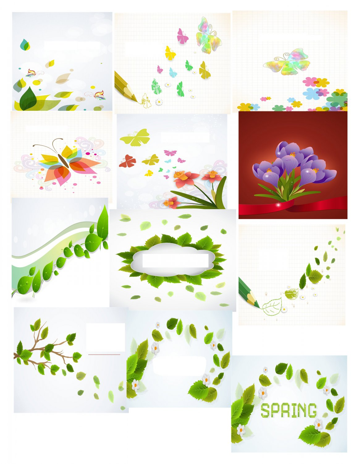 Spring Set Background 2-T-Shirt-Digital Clipart-Website-Flower-Gift Tag-Gift Cards