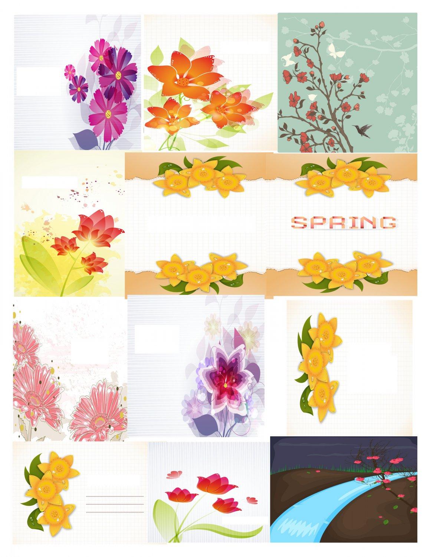 Spring Set Background 1-T-Shirt-Digital Clipart-Website-Flower-Gift Tag-Gift Cards