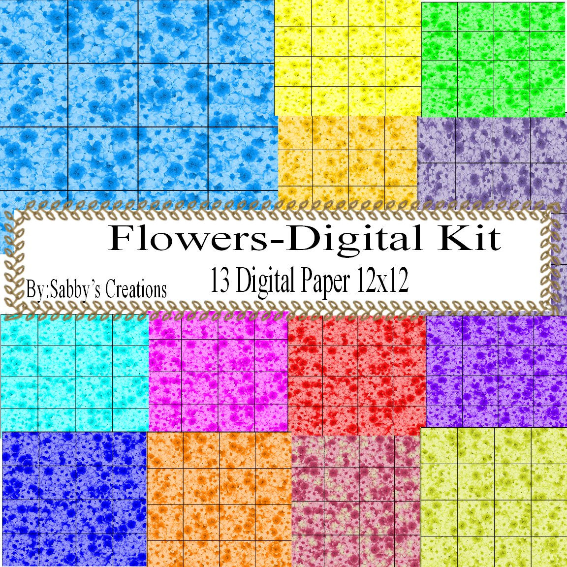 Flower Square Digital Kit-Digtial Paper-Art Clip-Gift Tag-Jewelry-Scrapbook-Earring-background.