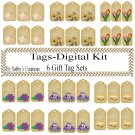 Flower Gift Tag Digital Kit 3-Jewelry Tag-Clipart-Art Clip-Gift Tag-Holiday