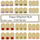 Flower Gift Tag Digital Kit 2-Jewelry Tag-Clipart-Art Clip-Gift Tag-Holiday