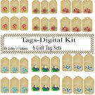 Flower Gift Tag Digital Kit-Jewelry Tag-Clipart-Art Clip-Gift Tag-Holiday