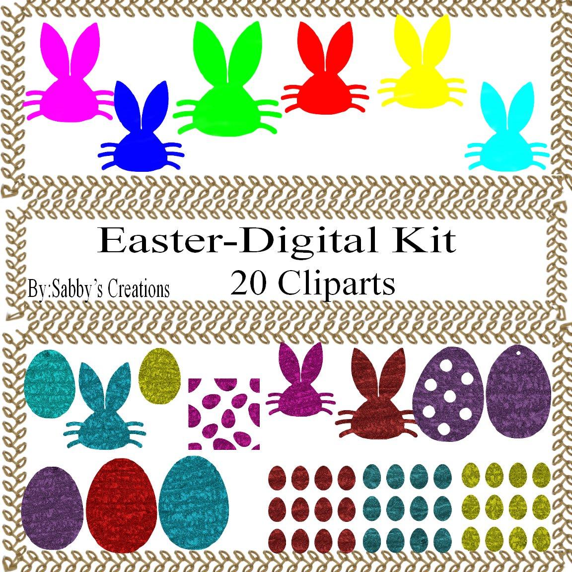 Easter Digital Kit 2-Digtial Paper-Rose-Art Clip-Gift Tag-Jewelry-T shirt