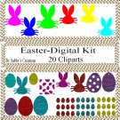 Easter Digital Kit 2-Digtial Paper-Rose-Art Clip-Gift Tag-Jewelry-T shirt