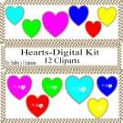 Hearts Digital Kit 1-Digtial Paper-Rose-Art Clip-Gift Tag-Jewelry-T shirt