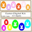 Easter Digital Kit 1-Digtial Paper-Egg-Bunny-Art Clip-Gift Tag-Jewelry-T shirt