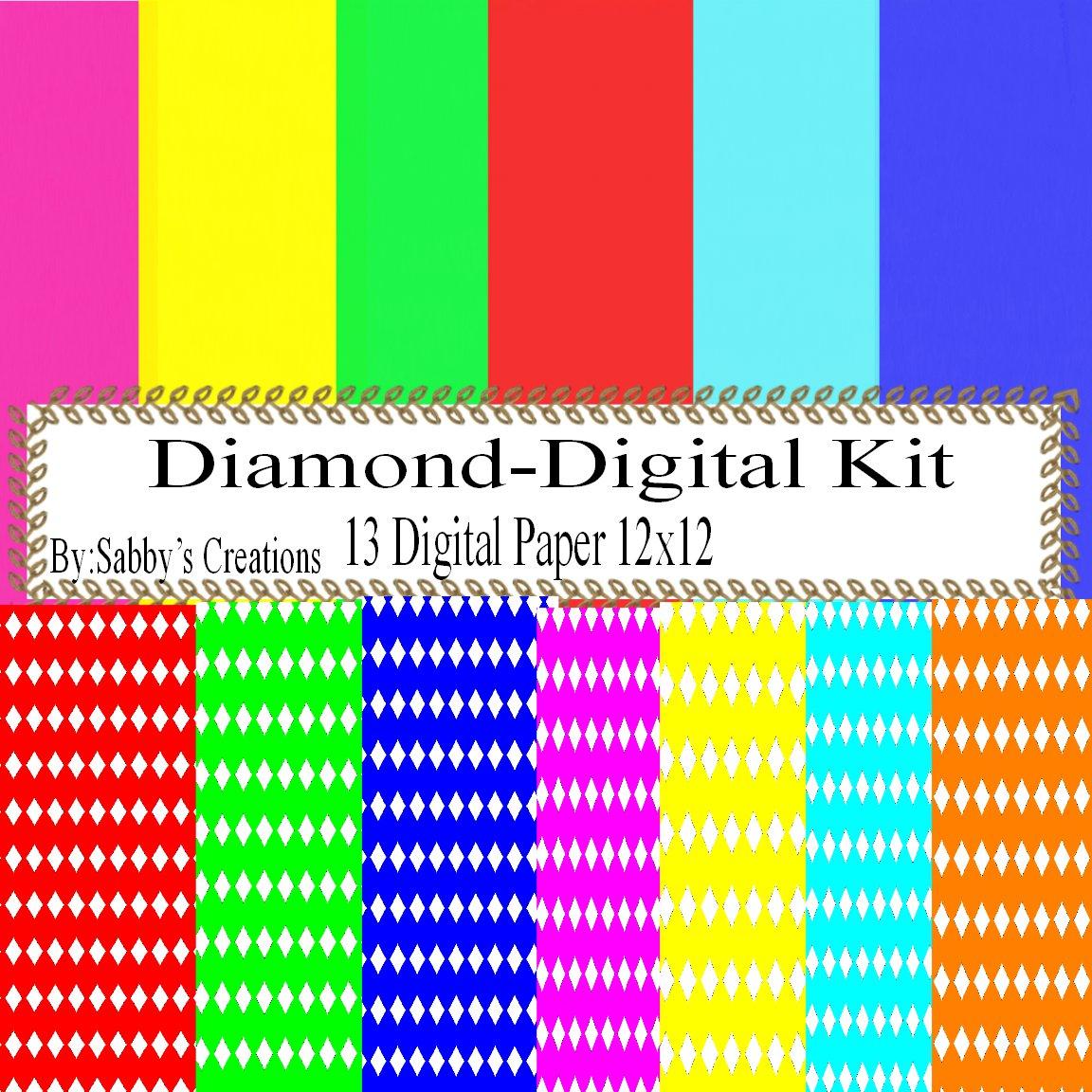 Diamond Digital Kit-Digtial Paper-Art Clip-Gift Tag-Jewelry-T shirt