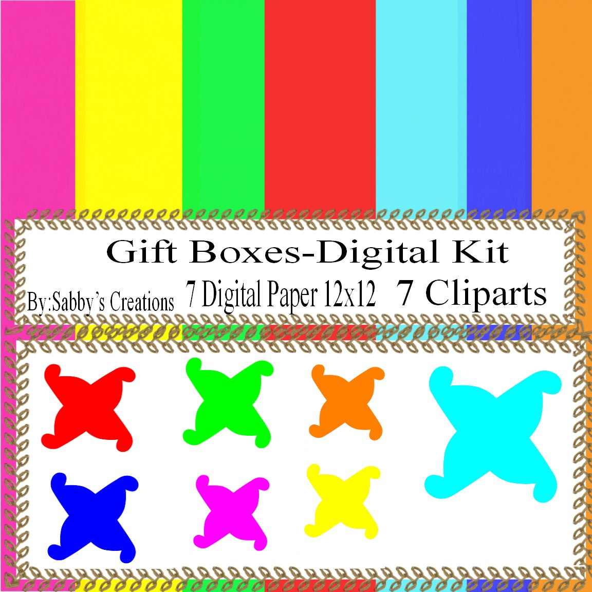 Gift Boxes300 Digital Kit-Digtial Paper-Art Clip-Gift Tag-Candy Boxes-T shirt