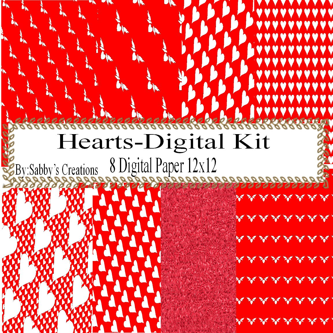 Red Digital Kit 2-Digtial Paper-Art Clip-Gift Tag-Jewelry-T shirt-Caketopper