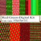 Red/Green Digital Kit-Digtial Paper-Party-Gift Tag-Jewelry-T shirt-Balloons-Scrapbook
