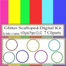 Glitter Scalloped Digital Kit-Digtial Paper-Art Clip-Gift Tag-Jewelry-T shirt