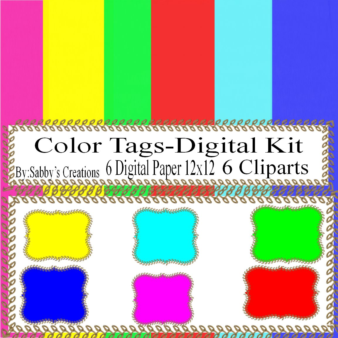 Tags Digital Kit 1A-Digtial Paper-Art Clip-Gift Tag-Jewelry-T shirt-Notebook