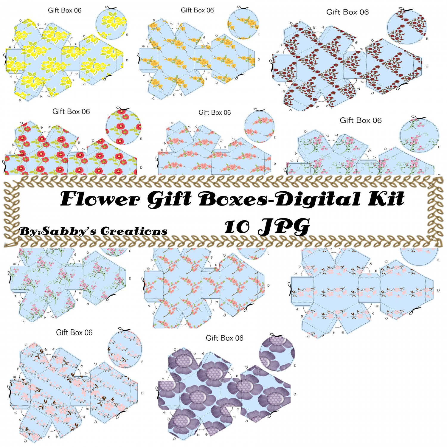 Flower Gift Box Digital Kit-Digtial Paper-Art Clip-Gift Tag-Jewelry-Mothers Day