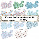 Flower Gift Boxes46 Digital Kit-Mothers Day-Paper-ArtClip-Gift Tag-Jewelry