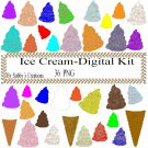 Ice Cream Digital Kit 1-Digtial Paper-Food-Art Clip-T shirt-Notebook-Scrapbook-background-gift card.