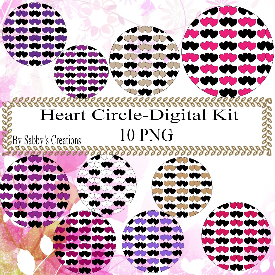 Hearts Circle bb Digital Kit-Jewelry Tag-Clipart-Gift Tag-Digital Clipart-Scrapbook.