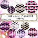 Hearts Circle bb Digital Kit-Jewelry Tag-Clipart-Gift Tag-Digital Clipart-Scrapbook.