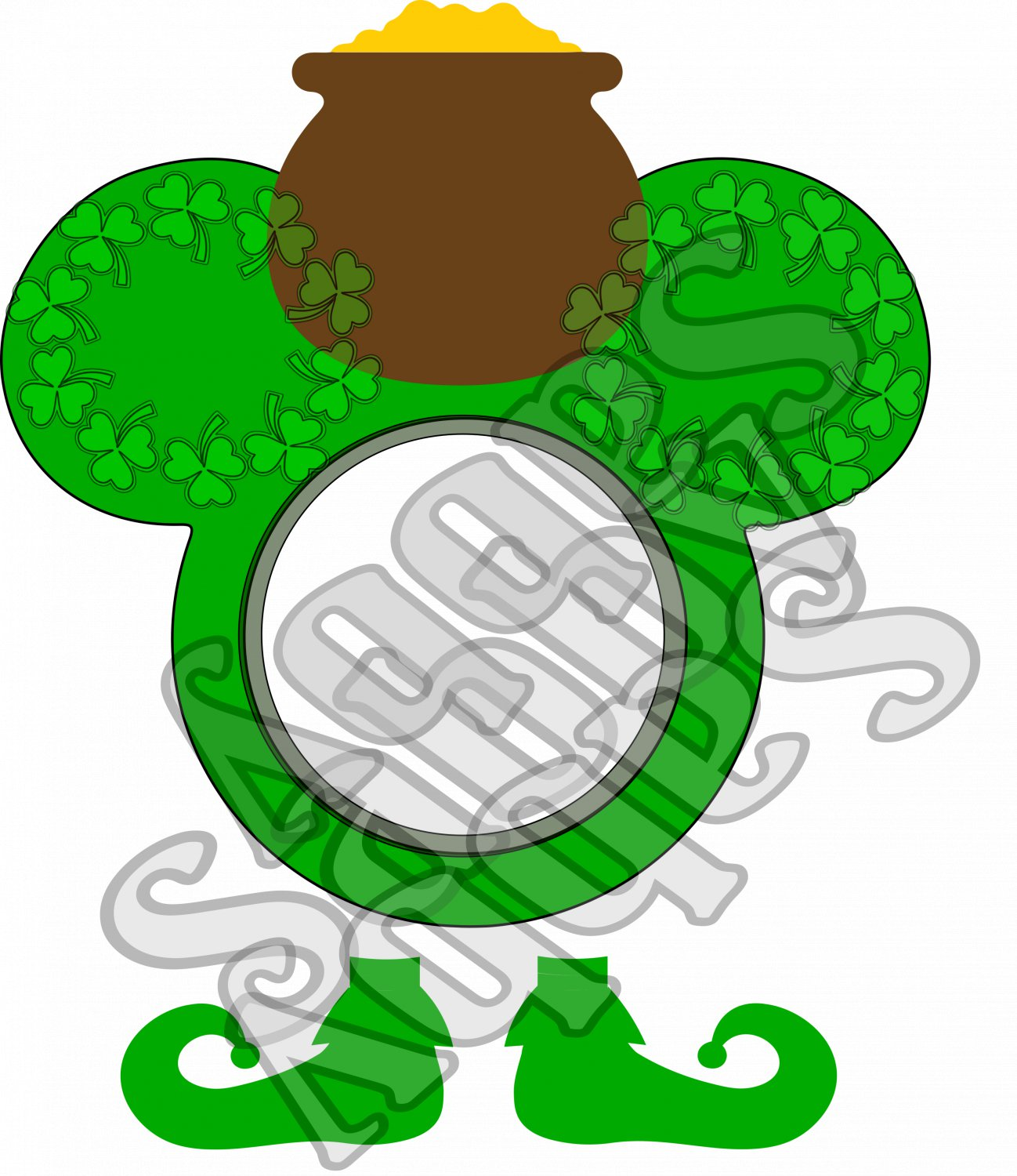 Mouse Clover 1aa-St. Patrick's-Digital ClipArt-Art Clip-Gift Tag-Notebook-Scrapbook-banner