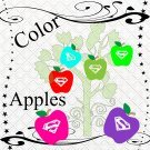Color Apples 4-Digital ClipArt-Art Clip-Gift Tag-Notebook-Scrapbook-banner-background-gift card.