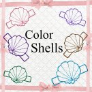 Color 3D Shell-Digital ClipArt-Art Clip-Gift Tag-Notebook-Scrapbook-banner-background-gift card.