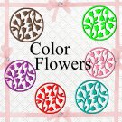 Color 3D Flowers200a-Digital ClipArt-Art Clip-Gift Tag--banner-gift card.
