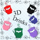 Color 3D Drinks 3-Digital Clipart-Gift Tag-Bat-Notebook-Scrapbook-Banner-Gift Card.