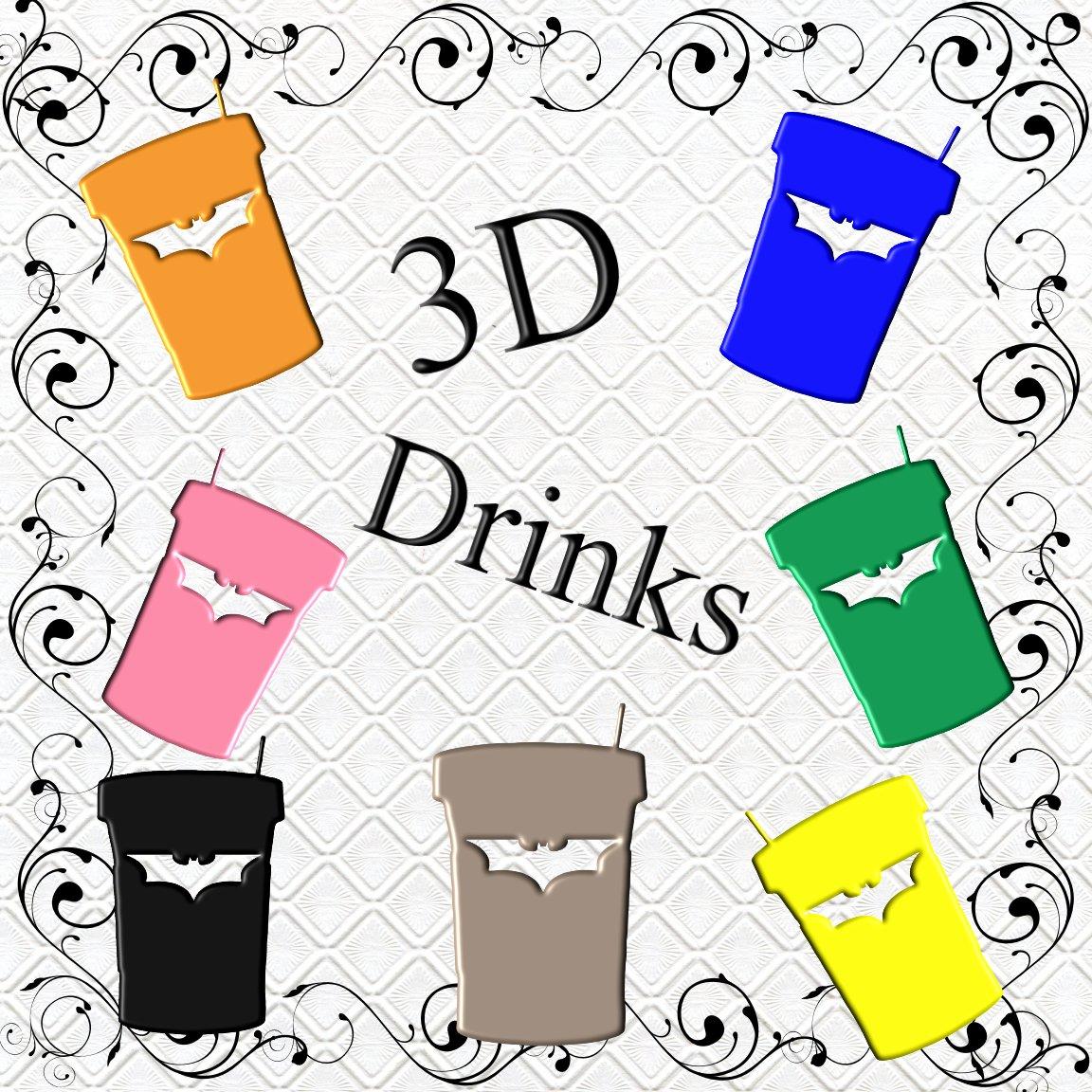 Color 3D Drinks 3-Digital ClipArt-Gift Tag-Soft Drinks-Bat-Scrapbook-Banner-Background-Gift Card.