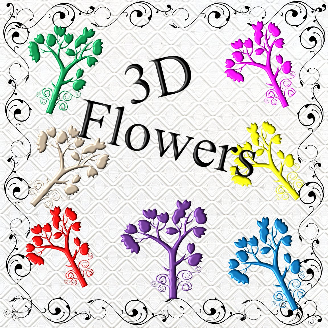 Color 3D Flowers201a-Digital ClipArt-Gift Tag-Scrapbook-banner-background-gift card.