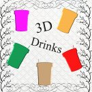 Color 3D Drinks 2-Digital ClipArt-Gift Tag-Soft Drinks-Scrapbook-Banner-Gift Card.