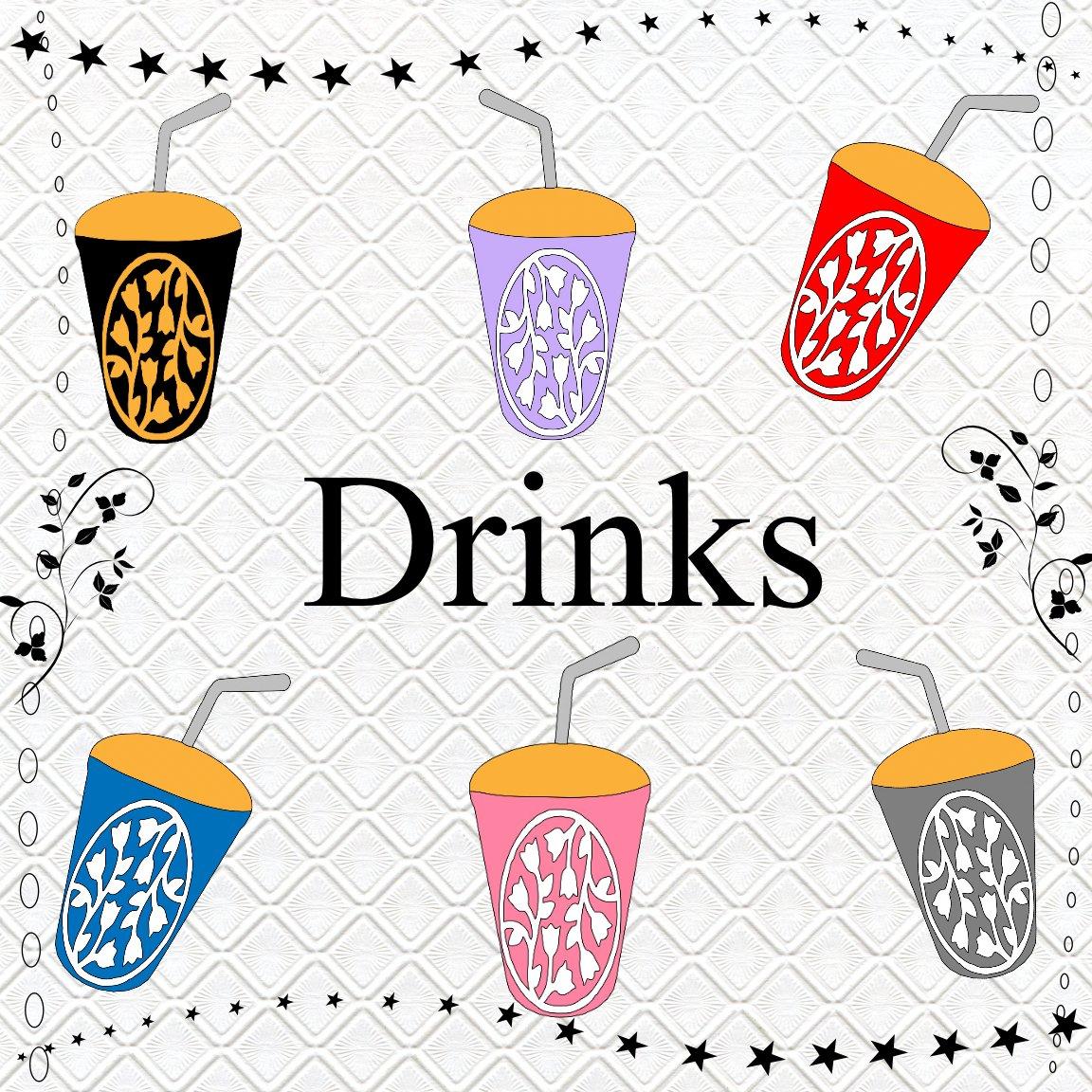 Color Drinks 1-Digital ClipArt-Art Clip-Soft Drinks-Flowers-Notebook-Scrapbook-Banner-Gift Card.