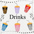 Color Drinks 1-Digital ClipArt-Art Clip-Soft Drinks-Flowers-Notebook-Scrapbook-Banner-Gift Card.