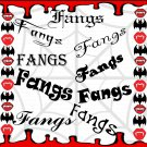 Fangs-Digital ClipArt-Fonts-Gift Tag-Notebook-Halloween-Scrapbook-Gift Card.