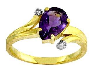 14k gold ring with diamond and amethyst 14k arany gyűrű gyémánttal és ametiszttel