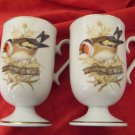 2 Enesco colorful bird cups mugs