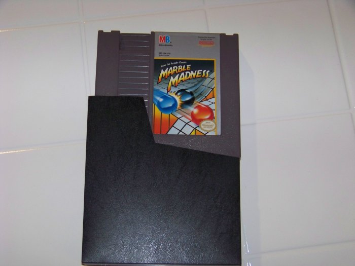 nes nintendo marble madness cartridge and dust cover for nes