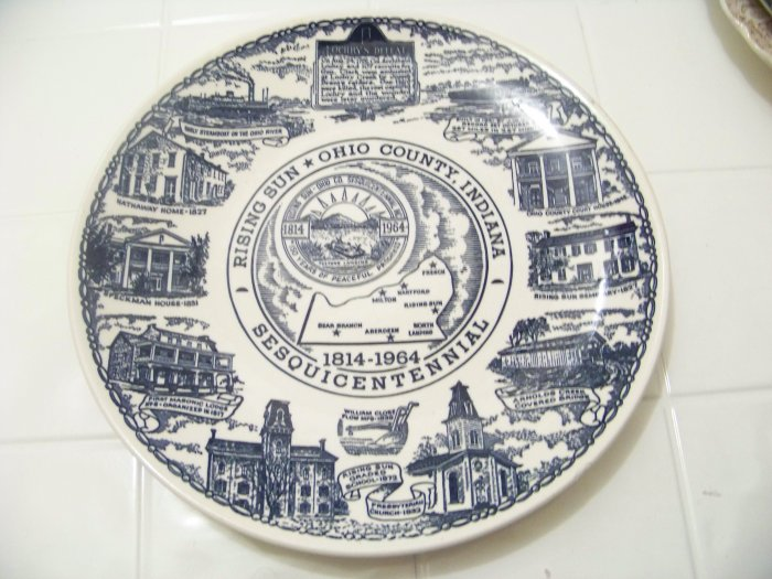 Rising Sun Ohio County Indiana Sesquicentennial Plate By
