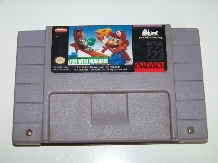 snes fun with numbers game cartridge  for super nintendo