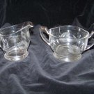 sugar bowl and creamer set with cut etched glass cornflowers