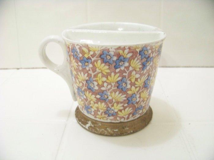 Mustache cup mug flowers gold trim