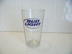 Bud Light beer glass holds 16 oz