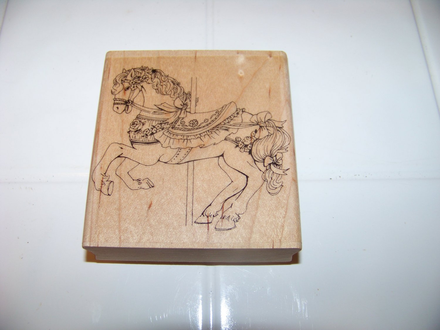 carousel horse rubber stamp 1990 embossing arts