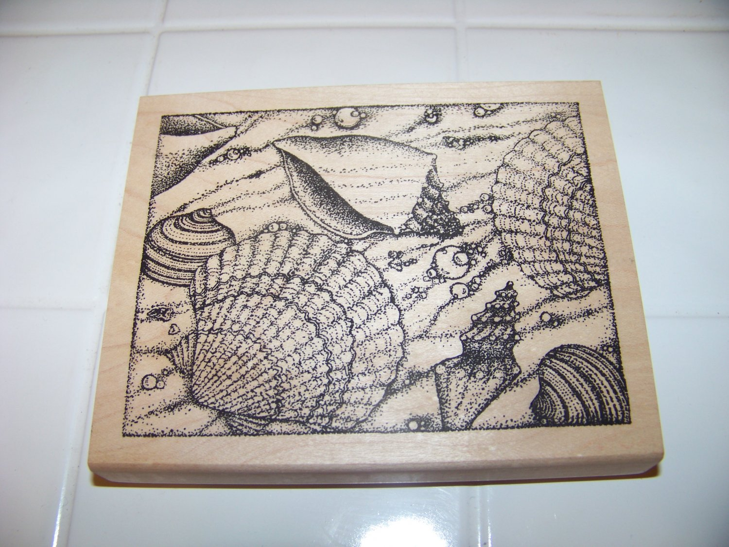 large seashell rubber stamp Peddlers pack stampworks 1999