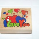 i love you rubber stamp with hearts and balloons