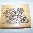 Anita's rubber stamp  1999 bear pushing a wheel barrel full of flowers great for scrapbooking
