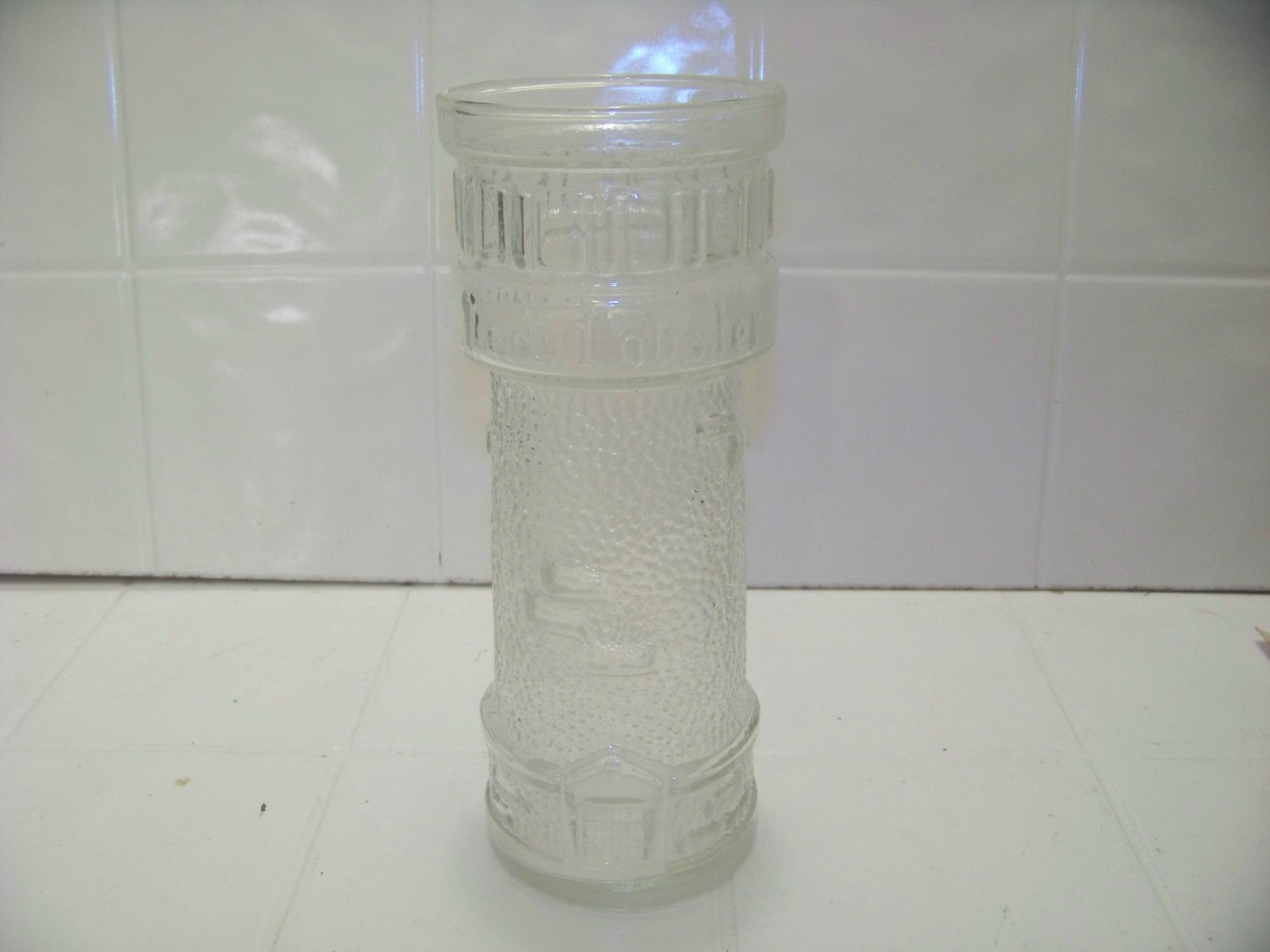 Red Lobster clear lighthouse advertising glass