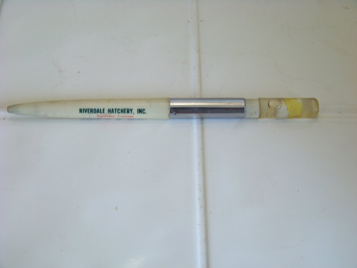 vintage advertising ritepoint pen Riverdale hatchery with chic and egg floating top