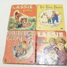 4 Vintage Whitman children tell-a-tale-books mother goose, three bears and 2 lassie books