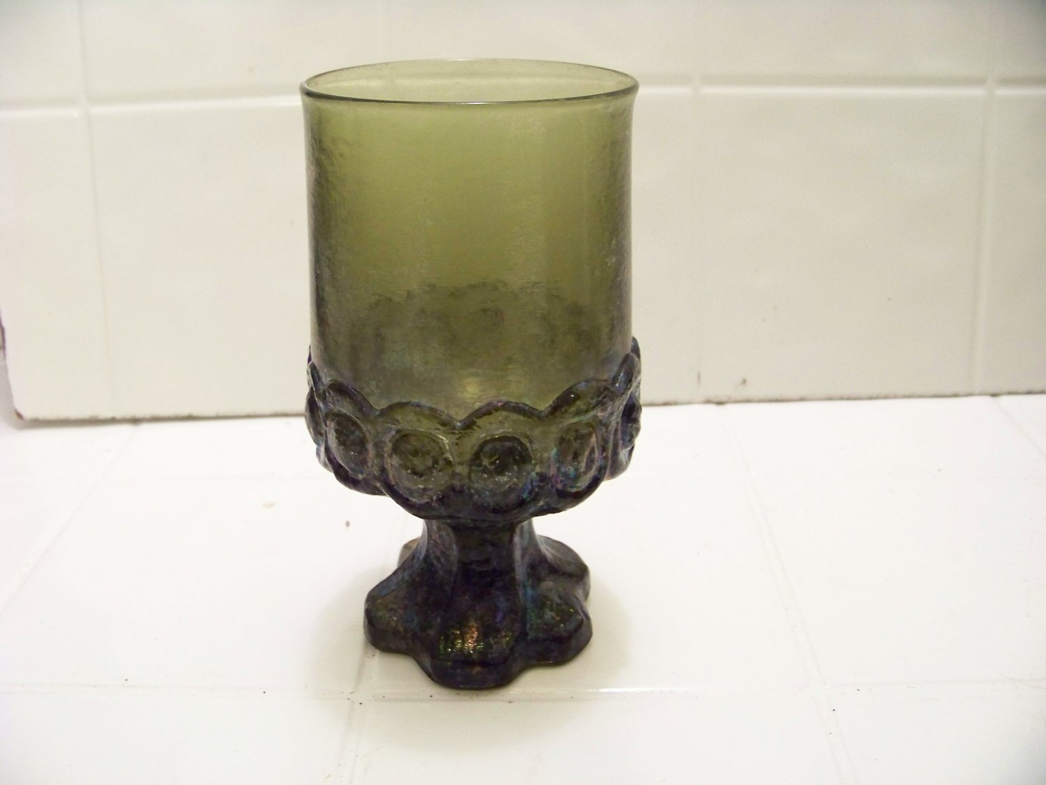 Vintage Franciscan Madeira Olive Green Water Goblets 5 1/2 inches tall