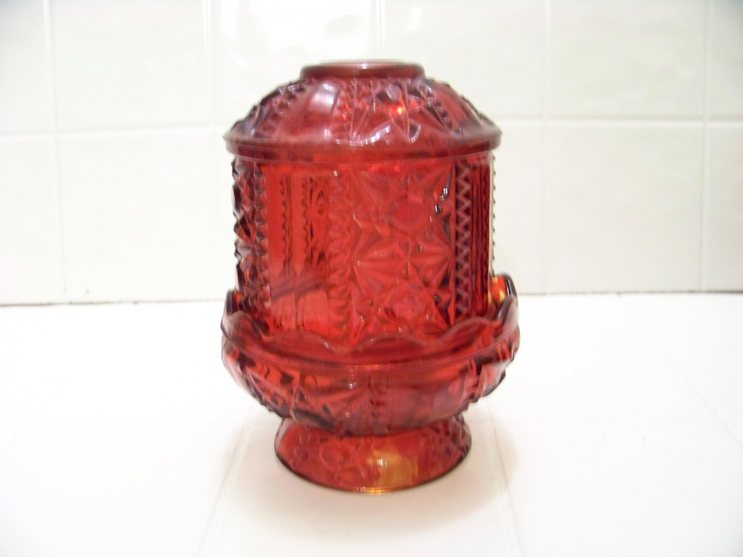 Beautiful flash ruby red glass fairy lamp  candle