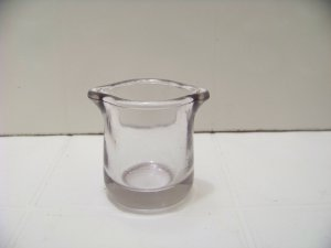 small 2 spout clear glass creamer